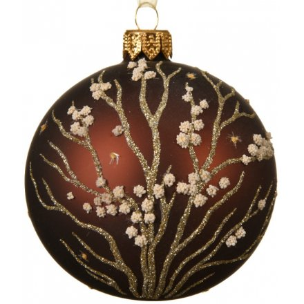 Floral Branch Glass Bauble