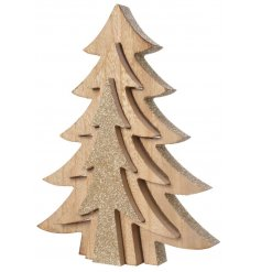Bring a glittery charm to your Christmas decor with this natural wooden Tree Puzzle Block