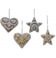 A mix of 4 hanging heart and star decorations each complete with sewn beads and pearls