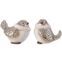 Bring a glittered touch to any home space or display set up with this sweet assortment of little terracotta birds