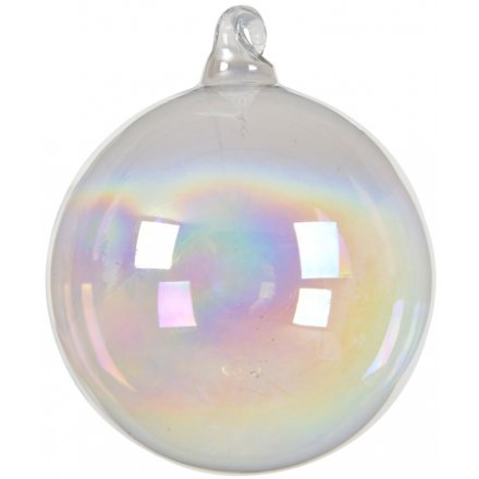 A beautiful bubble style glass bauble with white organza ribbon to hang.