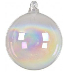 A beautiful and simple iridescent glass bauble with white organza ribbon to hang.