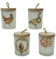 A charming assortment of glass candle pots, each decorated with its own festive print and filled with sweetly scented w