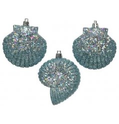 Shatterproof shell shaped decorations with a blue and purple sprinkle glitter finish.