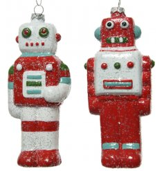 An assortment of 2 retro style robot decorations in red, white and blue colours. Each is coated in plenty of sparkle.