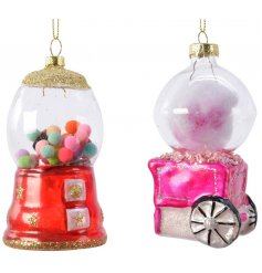 A bold, beautiful and unique assortment of sweet glass decorations including a cotton candy cart and candy machine