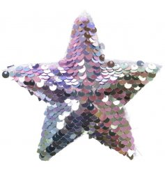 Bring a glitzy feel to any Tree decor at Christmas with this purple and pink toned sequin covered star hanger