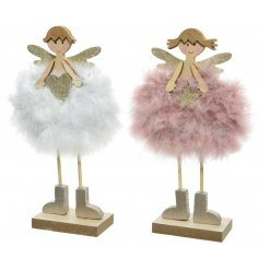 A sweet mix of standing wooden angel decorations, each complete with a pink or white fluffy skirt and golden glitter acc