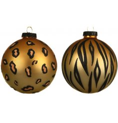Tiger and leopard print design glass baubles, each with a black glitter cap and gold organza ribbon.