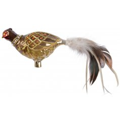 A stunning and highly adorned glass pheasant decoration with glitter and feathers.