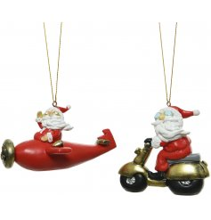 An assortment of Festive Themed hanging Santa Decorations, suitable for any Traditional inspired tree decor at Christmas