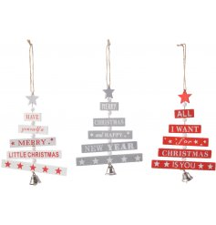 An assortment of hanging Red and Grey toned tree decorations each featuring its own scripted text decal
