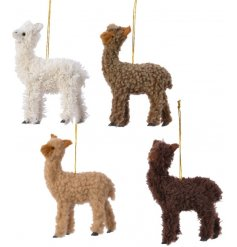 A mix of 4 assorted toned hanging Alpaca tree decorations