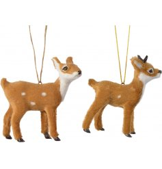 An adorable mix of woodland deer hanging decorations, covered with a fuzzy fur