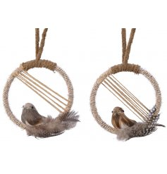 A mix of hanging Dream Catcher inspired decorations complete with a perched bird within