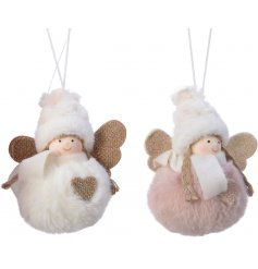 A cute little mix of hanging pompom angel decorations in a pink and white tone