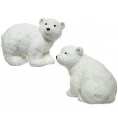 An adorable mix of terracotta based polar bear figures with an added sprinkle of glitter
