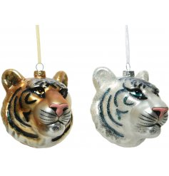 An assortment of 2 gold and white tiger face decorations complete with festive glitter.