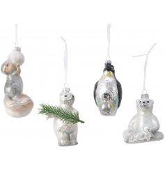 An assortment of 4 enchanting glass animal decorations, each with a luxurious shimmering finish.