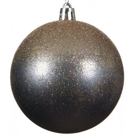 Shatterproof bauble with natural linen glitter, silver cap and silver ribbon.