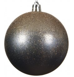 A beautiful smoked tone shatterproof bauble with an added ombre glitter decal