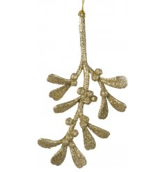 A light gold glitter mistletoe hanging decoration. A chic and attractive seasonal item for the home.