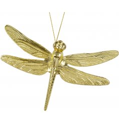 A unique and attractive dragonfly hanging decoration with a touch of glitter. A beautifully detailed ornament