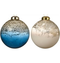 An assortment of 2 blue stone and wool white glass baubles with an antique finish. Complete with a luxury metal cap
