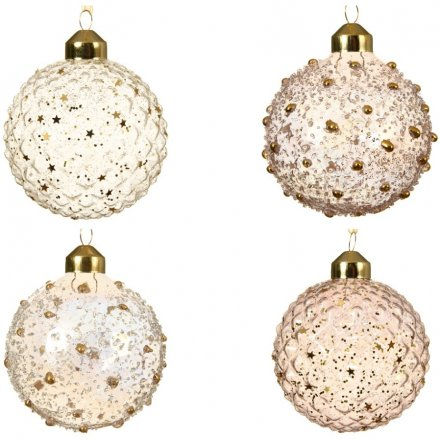 A mix of 4 glass baubles with iris beads and iris stars. The assortment includes pink and clear designs.