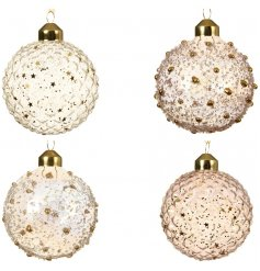A mix of 4 stunning glass baubles with pink and clear iris beads and pink and clear iris stars.
