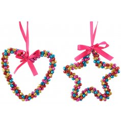 An assortment of multicoloured Heart and Star shaped Jingle Bell Hangers
