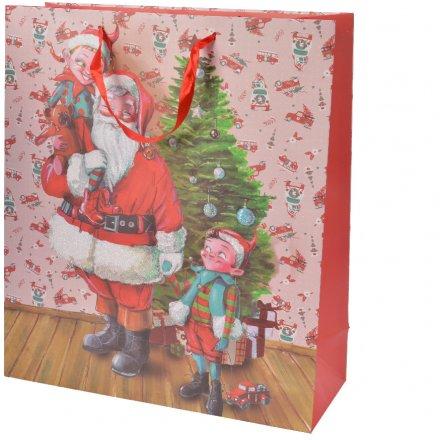 Large Elf and Santa Gift Bag