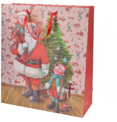 A red toned gift bag featuring a Vintage inspired Santa and Elf illustration