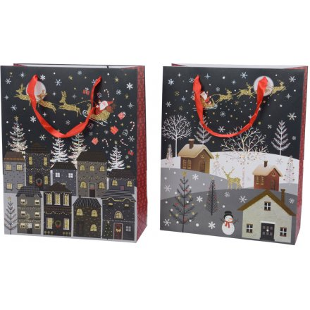 Large Christmas Eve Scene Gift Bags