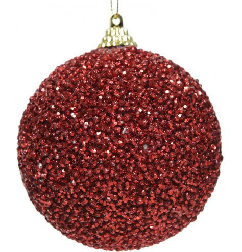 This classic red bauble is covered in shiny red sequins and is topped with a gold cap for hanging.
