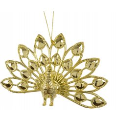 A luxe inspired hanging peacock decoration in a glamorous gold tone