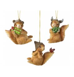 A cute little mix of hanging chestnut squirrels each decorated with a hat and sprinkle of glitter