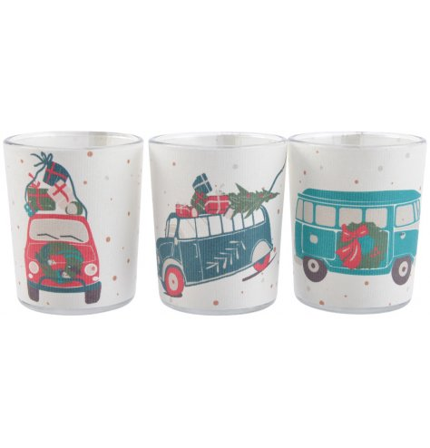 An assortment of 3 glass t-light holders, each with a vintage inspired Christmas transport illustration.