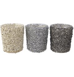 Add some luxury and glamour to the home with this assortment of crushed glass t-light holders