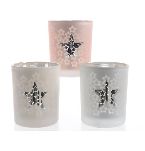 An assortment of 3 glass t-light holders with a cluster of shiny stars. These create a wonderful glow with a lit t-light