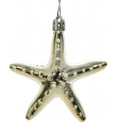 A shimmering gold starfish decoration with gold cap and hanger. A top trending and unique decoration this season.
