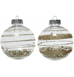 A mix of 2 shatterproof baubles with a gold glitter swirl and gold beads. A classic glitz item for your home.