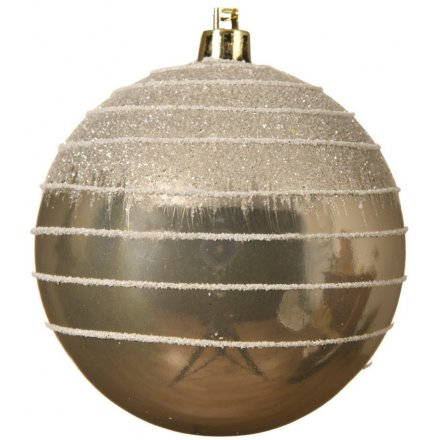 A chic gold bauble with a glitter swirl pattern and cascading glitter design.