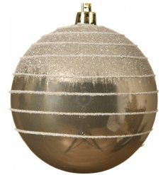 A stunning shatterproof bauble with a glitter ombre and glitter swirl pattern.
