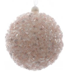 A foam bauble decorated in pretty in pink shimmering sequins. A beautifully textured and full bauble for your tree