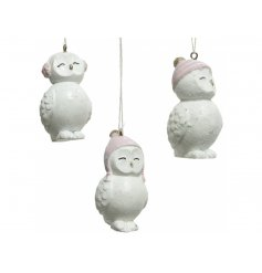 An assortment of 3 adorable resin owl hangers with cute winter headwear including ear muffs and woolly hats.
