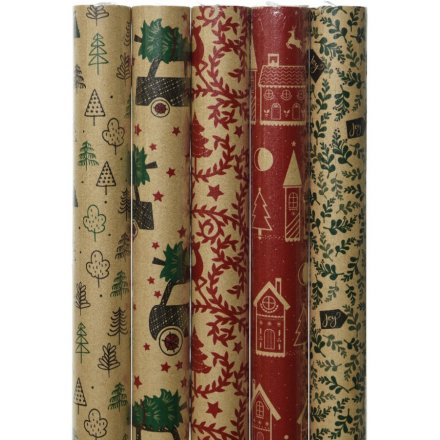 Eco Wrapping Paper - 5 Assorted