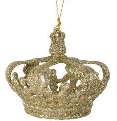 A three-dimensional gold glitter crown decoration. A luxury inspired traditional decoration with a twist.