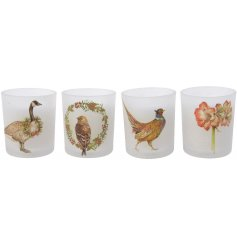 A mix of 4 glass candle pots with bird, amaryllis,  duck and pheasant decorations. A classical decoration with a twist.