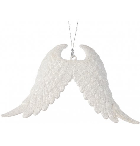 This is the most beautiful Christmas ornament. An elegant pair of angel wings with white glitter.